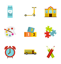 School time icons set flat style vector