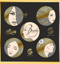 Set of beautiful faces of girls with golden hair vector