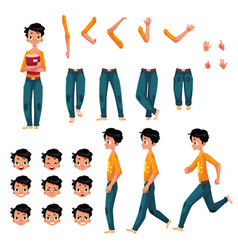 student young man character creation set vector image