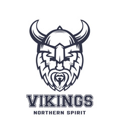 Vikings logo bearded warrior in helmet with horns vector