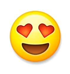 Emoji with heart-shaped eyes emoticon smiling vector