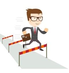 Businessman jumping over hurdles vector