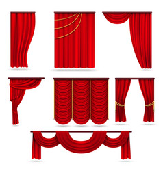 Red velvet stage curtains scarlet theatre drapery vector