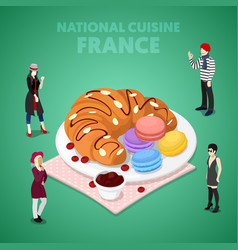 Isometric france national cuisine with croissant vector