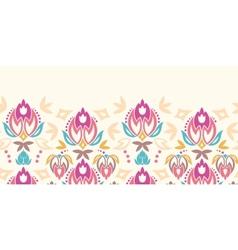 Abstract damask tulips horizontal seamless pattern vector image