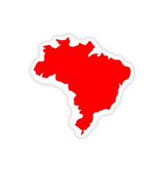 Paper sticker brazilian map on white background vector