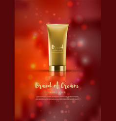 Cosmetic tube on red shiny backdroppremium ads vector