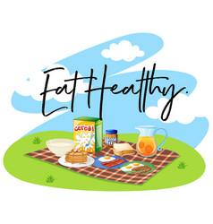 Breakfast set and word eat healthy vector