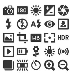 Photography icons set on white background vector