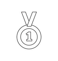 1st place medal line icon vector image vector image