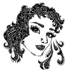 Woman face for tattoo vector