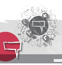Hand drawn speech bubble icons with icons vector image
