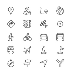 Navigation thin icons vector image