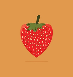 Fresh red strawberry on orange background vector