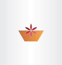 Red flower in pot abstract icon vector