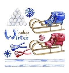 Watercolor winter activities vector