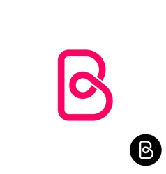 Letter B logo monolyne wireframe style vector image