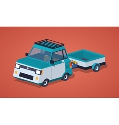 Blue compact car with the trailer vector