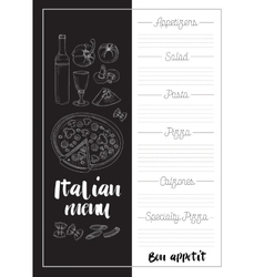 Italian food menu vector