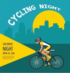 Cycling night poster cyclist riding through the vector