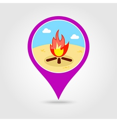 Bonfire pin map icon summer vacation vector