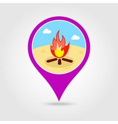 Bonfire pin map icon Summer Vacation vector image