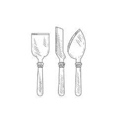 Three Special Knives For Cheese Hand Drawn vector image