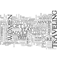 Advice for women travelers text word cloud concept vector