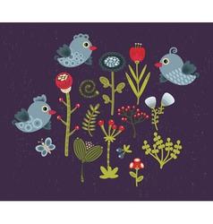 Birds in garden vector