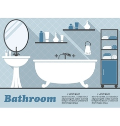 Blue bathroom interior infographic vector image vector image
