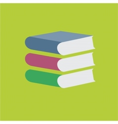 Colored books stack on green background vector image vector image