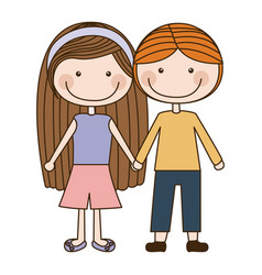Colorful caricature couple kids in casual clothes vector