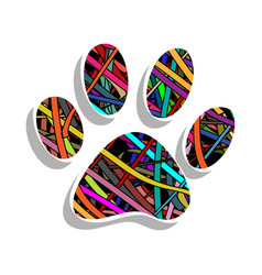 Colorful paw print vector