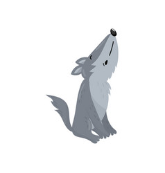 cute wolf woodland howling cartoon animal vector image