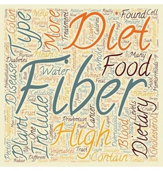 Dietary therapy high fiber diets text background vector
