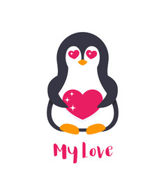 Emoji with cute pinguin in love over white vector