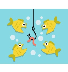 Fishing worm and fish vector