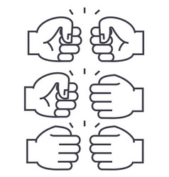 Fist bump line icon sign on vector