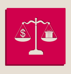 Gift and dollar symbol on scales vector