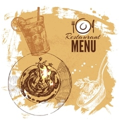 Hand drawn sketch restaurant food set European vector image