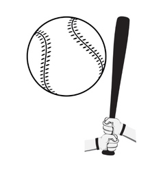 Hands holding baseball bat and big ball vector
