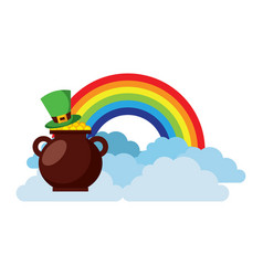 Hat of leprechaun with pot coins treasure rainbow vector
