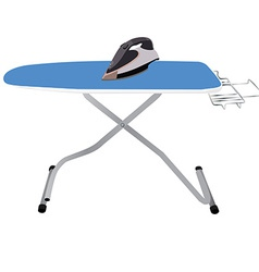 Ironing board and iron vector