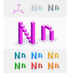 Isometric font from the cubes Letter N vector image vector image