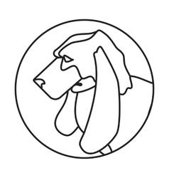 Line head basset dog in round vector