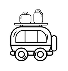 Line van transportation with bags to travel vector