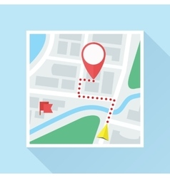 Map with location mark and route flat icon vector