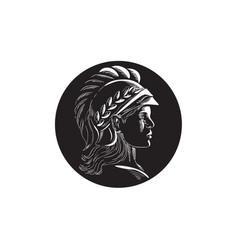 minerva head side profile oval woodcut vector image vector image