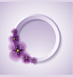 Pansy flowers and circle vector
