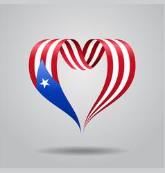 Puerto rican flag heart-shaped ribbon vector